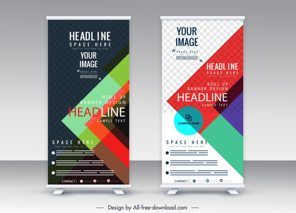roll standee banner template colorful vertical design