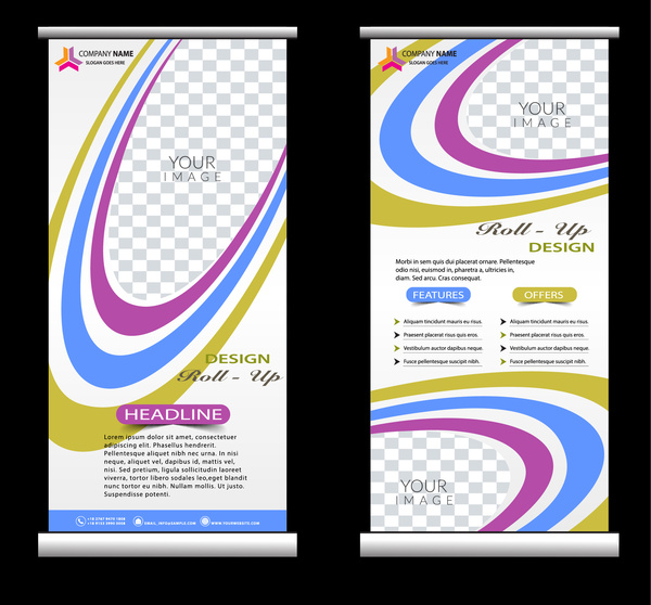 roll up banner design with colorful curved lines