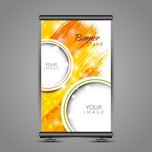 roll up banner design with vertical abstract background