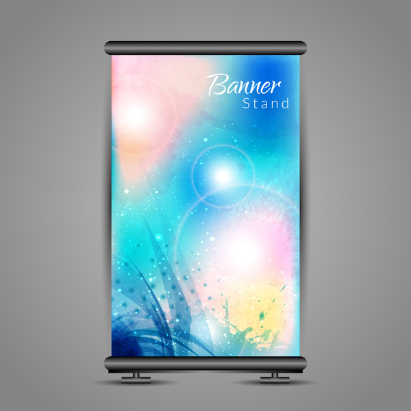 roll up banner design with vertical bright background