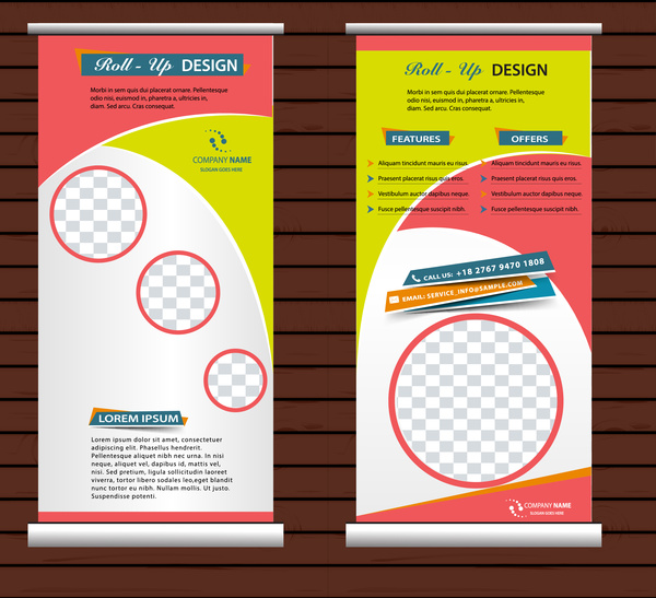 roll up banner vertical template with modern style free vector in