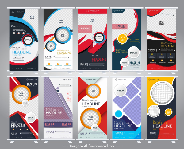 rolled up banners templates modern abstract technology decor