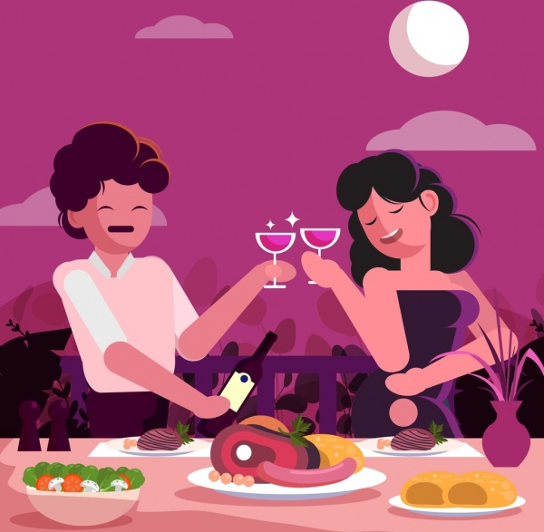 romance background couple food dining table icons decor