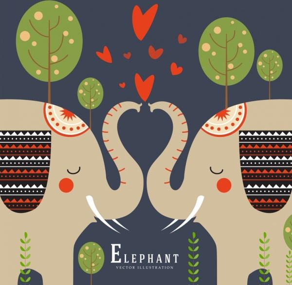 romance background kissing elephants icons symmetric design