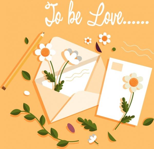 romance card background envelope floral decor classical design