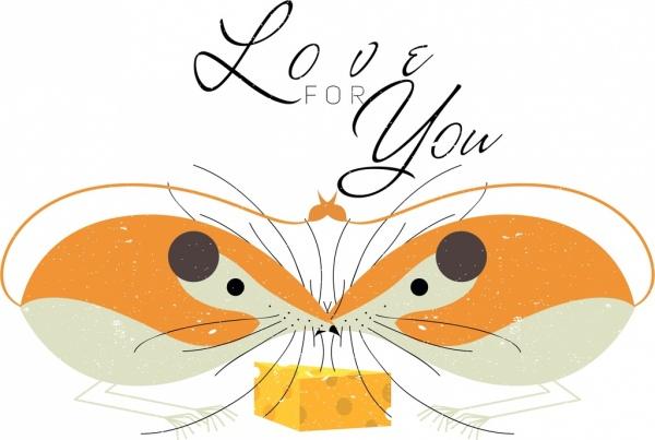 romance love background mouse icon symmetric design