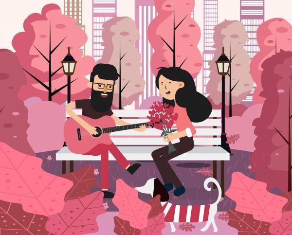 romance painting happy couple park icon colored cartoon
