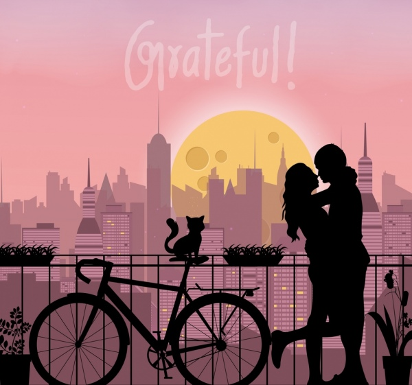 romantic background couple silhouette cityscape backdrop