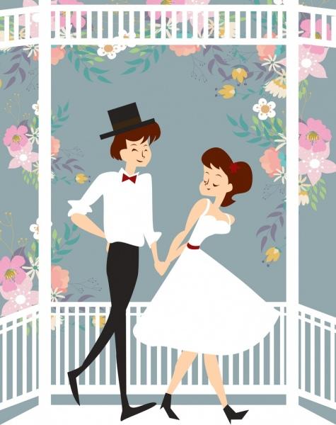 romantic background love couple flowers decor cartoon design