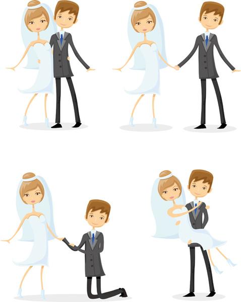 romantic bride and groom design vector