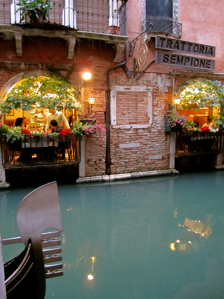 romantic canalside cafe