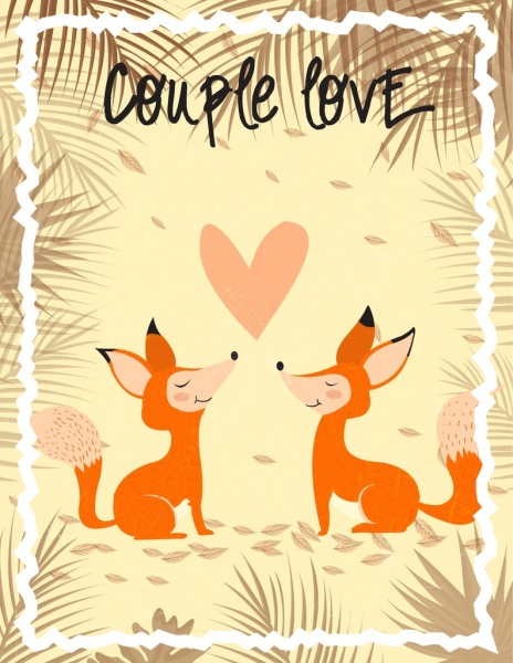 romantic card template fox couple leaves decoration