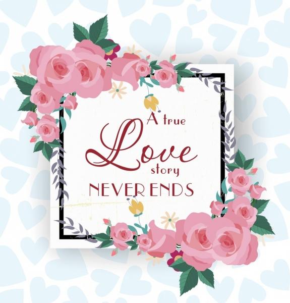romantic card template roses decor square frame