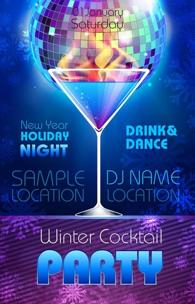 romantic club cocktail party flyer vector