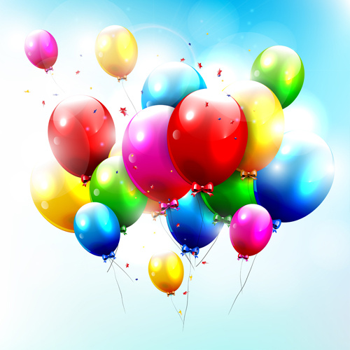 romantic color balloons background art