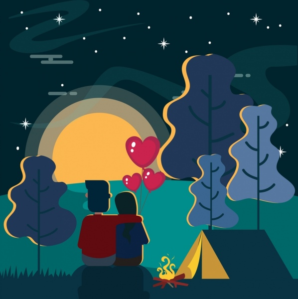 romantic couple painting outdoor camping scene decor