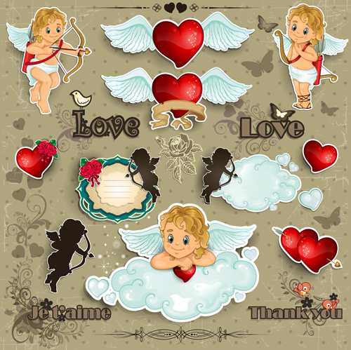 romantic cupids with text cloud valentine day element vector