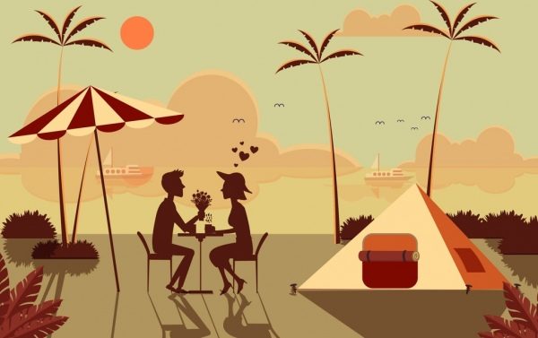 romantic date background love couple beach icon silhouette decor