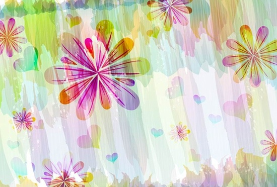 floral background template bright colorful grunge handdrawn decor