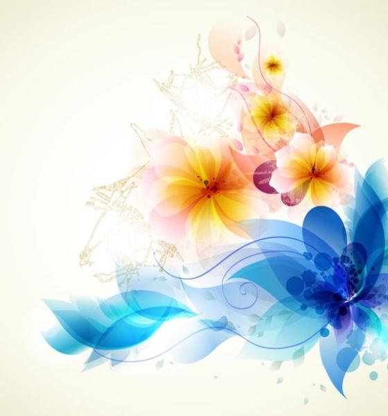Romantic Flower Background 01 Vector Free Vector In