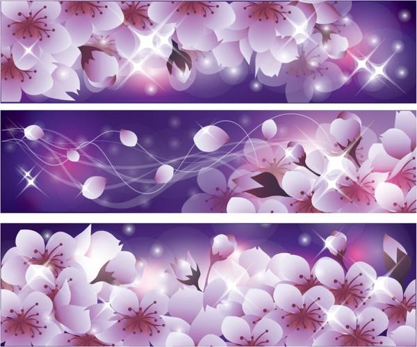 spring background templates sparkling design blooming flowers sketch