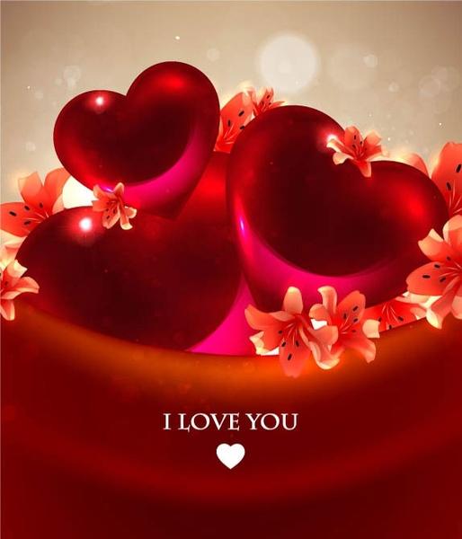 romantic heartshaped background 04 vector