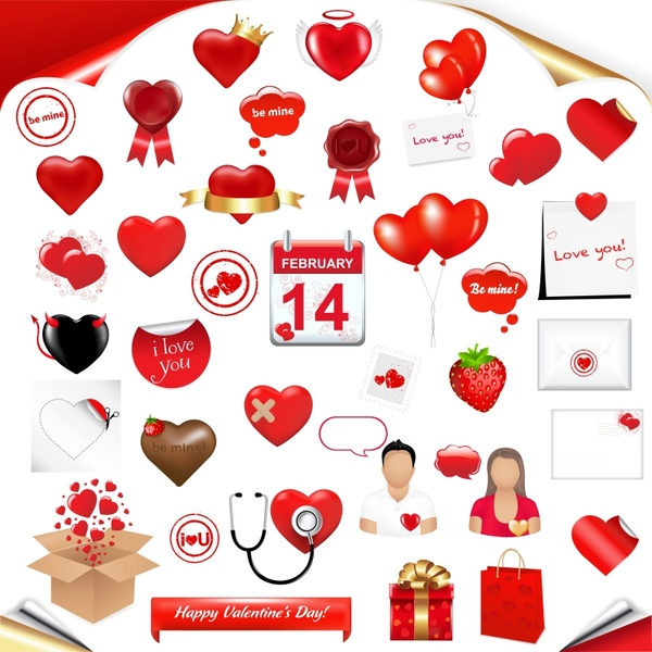 valentine design elements shiny red romance symbols sketch