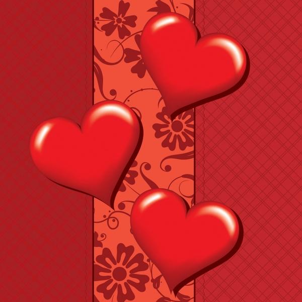 romantic heartshaped heartshaped sweet love greeting card vector