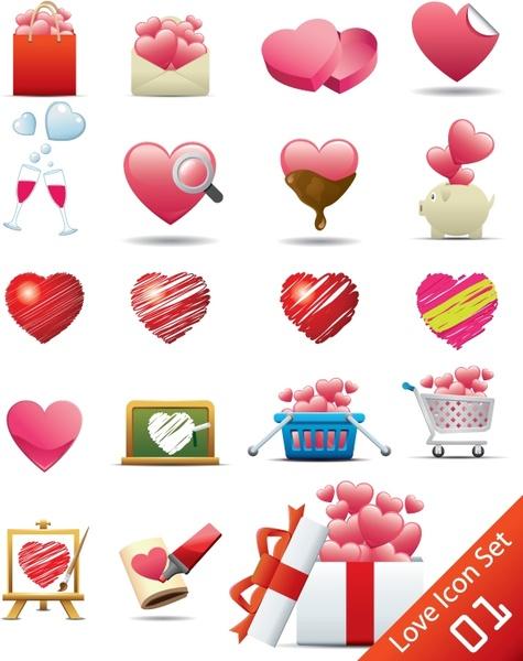 romantic heartshaped icon 02 vector