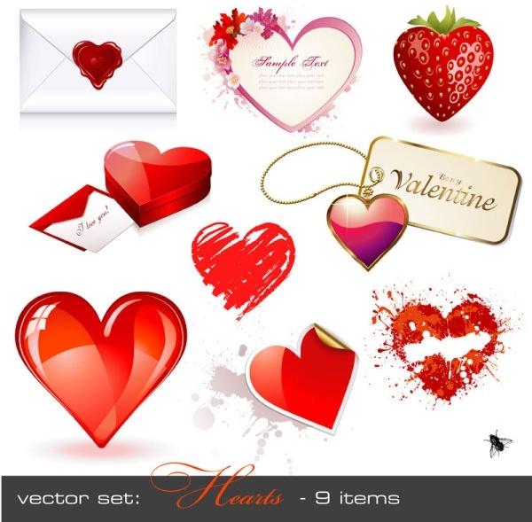 romantic heartshaped vector