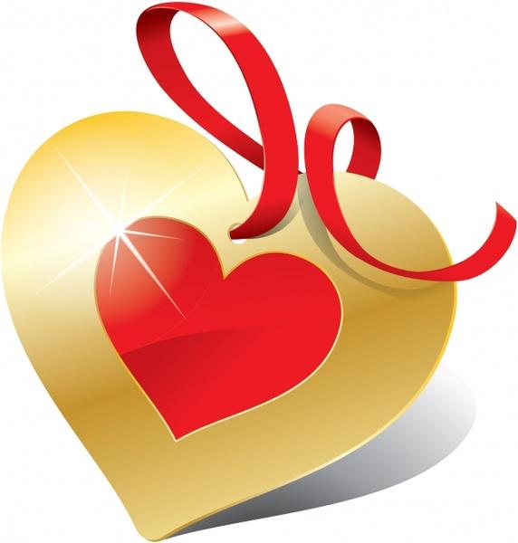 romantic love hearts label vector