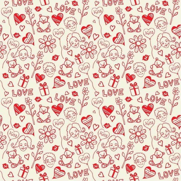 Romantic Love Seamless Pattern Vector