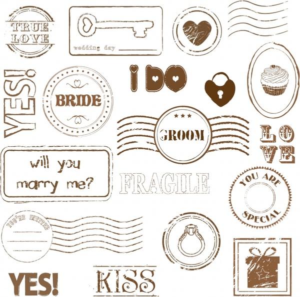 valentine stamps templates romantic decor retro design