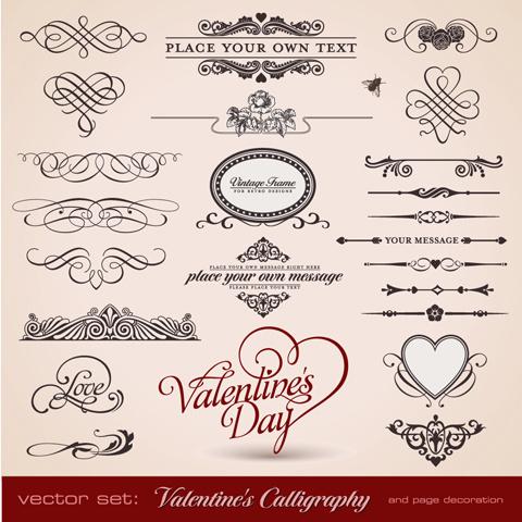 romantic love theme elements vector set