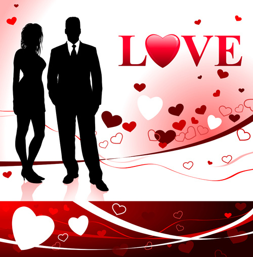romantic lovers card vector