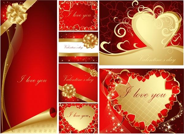 romance background templates luxury elegant red golden decor