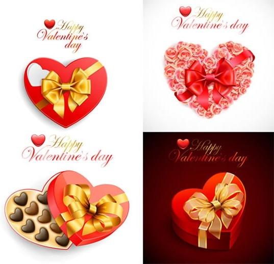 valentines card templates modern shiny heart shapes decor