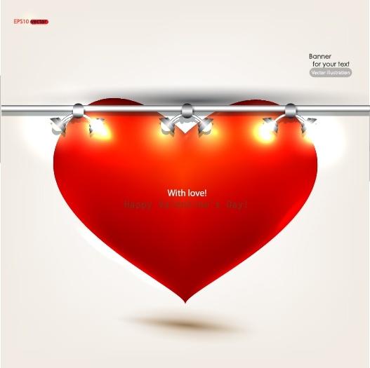 romantic valentine39s day heartshaped red spotlights vector