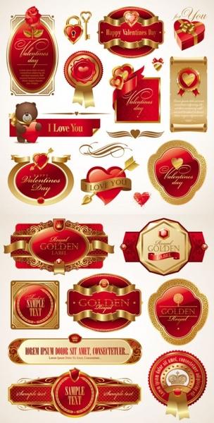 romantic valentine39s day red label vector