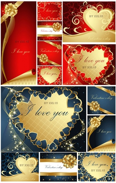 romantic valentine day greeting card vector