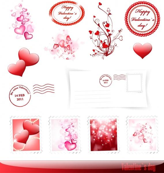 valentines design elements sparkling shiny red decor