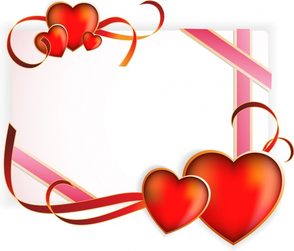 romance background elegant red heart ribbon decor
