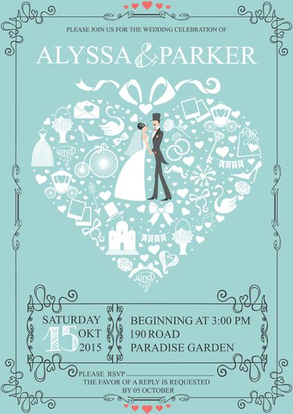 romantic wedding cards retro style vector
