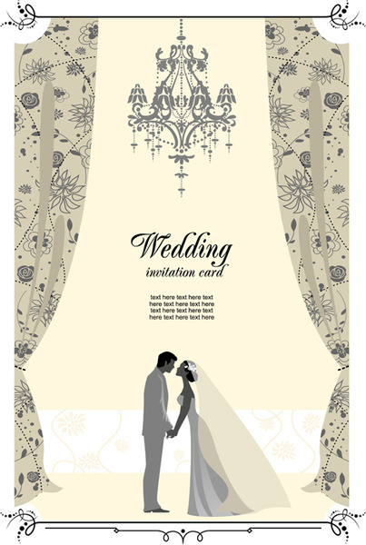Set of wedding elements vector background free vector download.