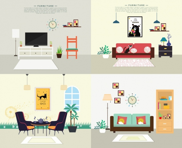 room decor advertising sets furniture living room icons free vector