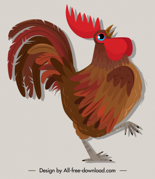 rooster icon colored flat retro sketch