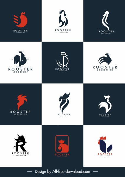 rooster logo templates flat sketch