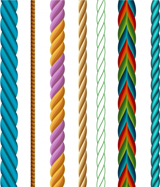 rope icons collection colorful twist sketch