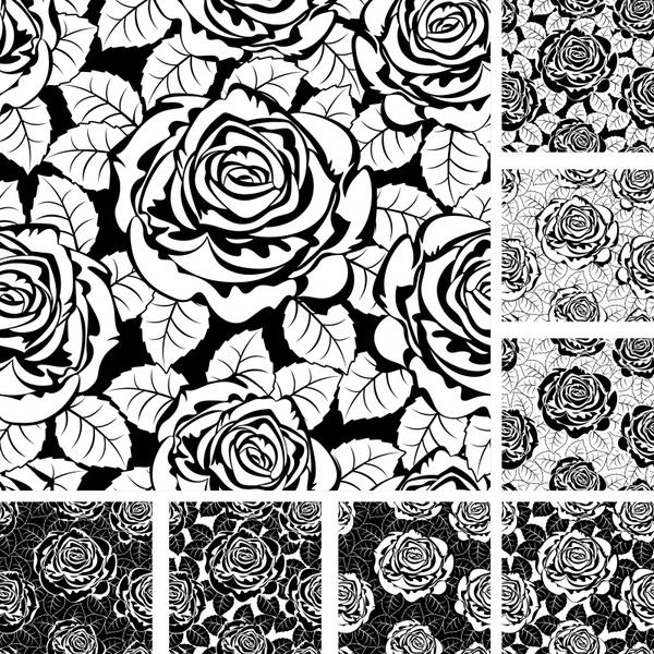 rose pattern templates black white flat handdrawn sketch