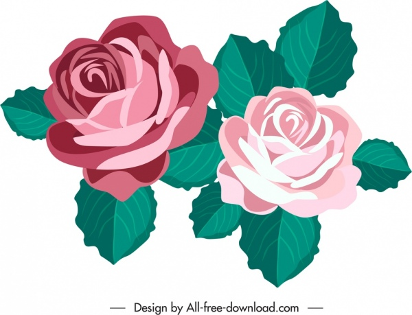 rose flower icon colored classical sketch